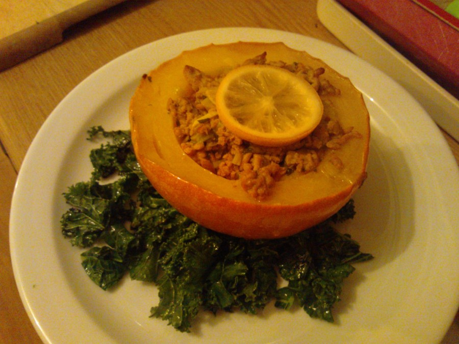 Stuffed Squash with Pork, Leeks and Thyme