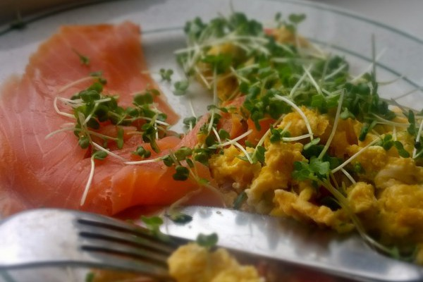 One of my favourite pescetarian breakfasts - smoked salmon and scrambled eggs with microherbs