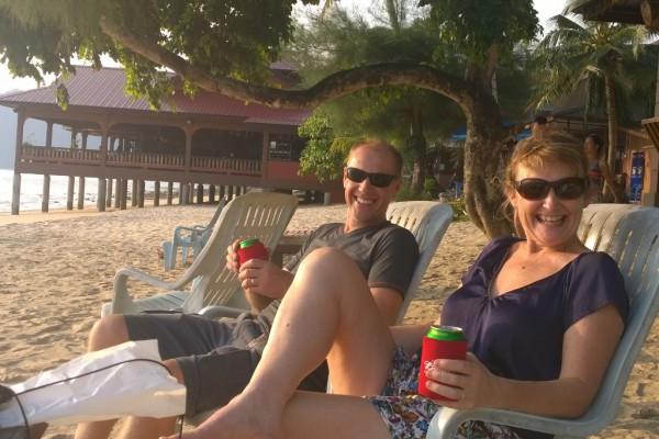 Mum and Dad on Tioman at Sunset Beach
