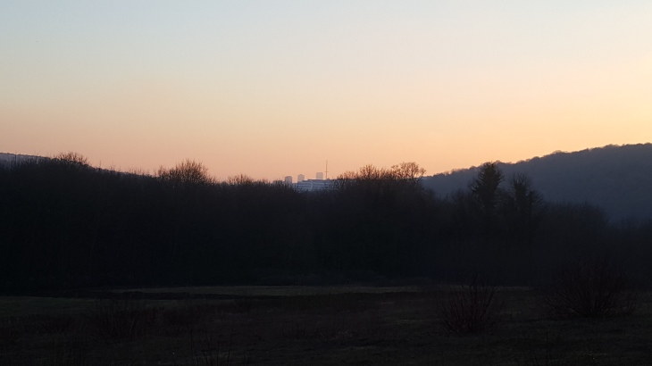sunset and view of brighton from stanmer