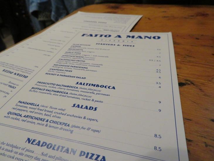 fatto a mano pizza menu