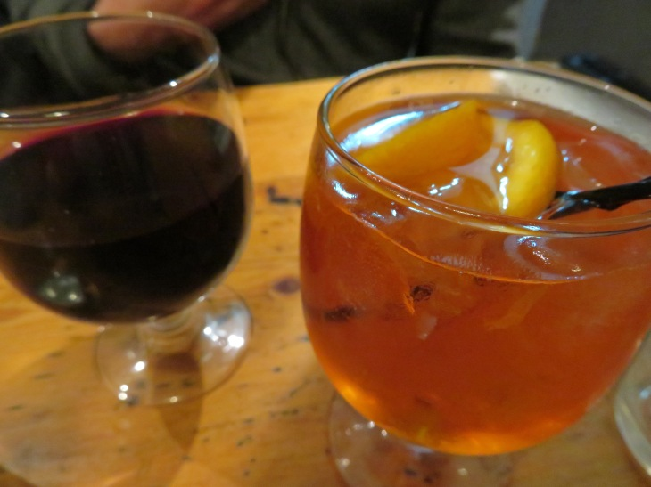 fatto a mano drinks, aperol and wine