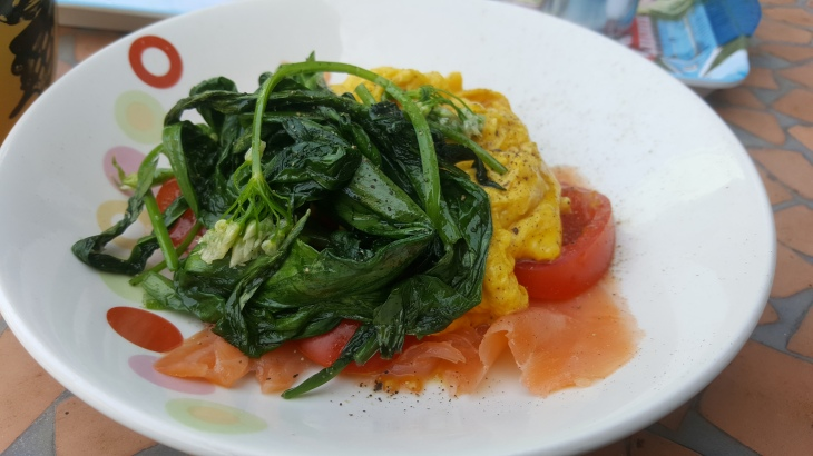wild garlic with farm eggs and smoked salmon breakfast gluten free